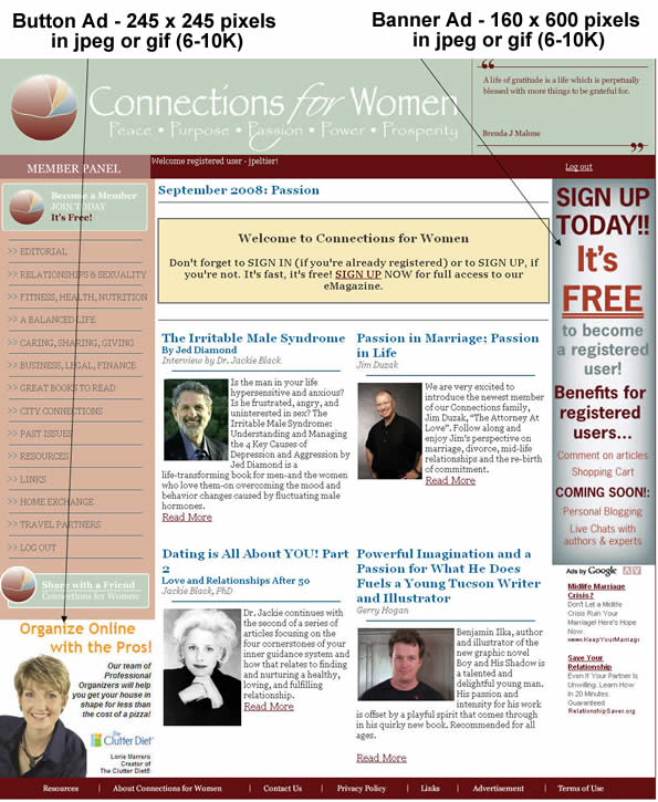Connections for Women Advertising Ad Specifications